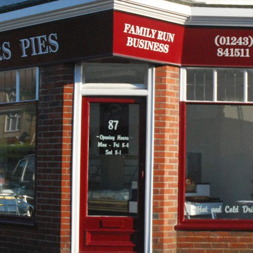 """1990 THE FIRST PIE SHOP  Turner's first pie shop opened at 89 Hawthorn Road, Bognor Regis with the motto """"Only the finest ingredients"""". Here their produce has been developed and refined for nearly 30 years."""